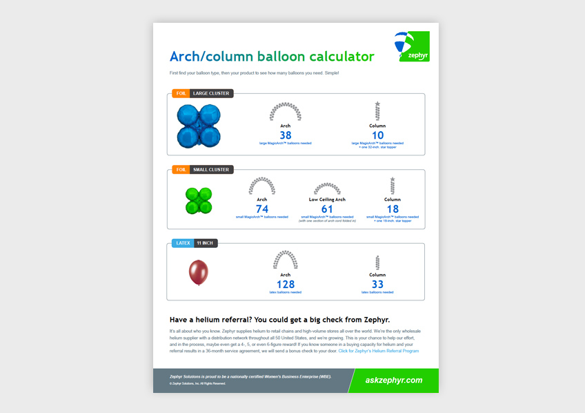 Zephyr Arch & Column Balloon Calculator