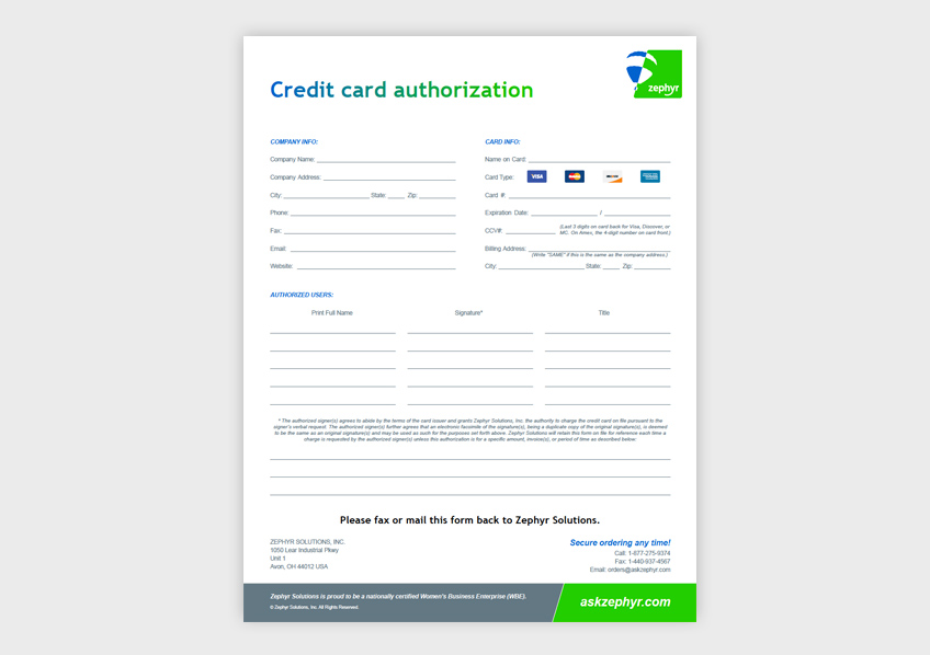 Zephyr Helium Equipment Credit Card Authorization Form