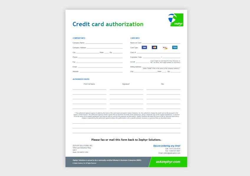 Zephyr Helium Equipment Credit Card Authorization Form