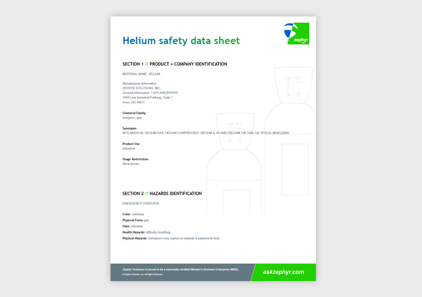 Zephyr Helium Safety Data Sheet