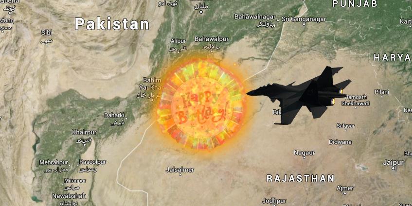 Happy birthday balloon shot down at India Pakistan border