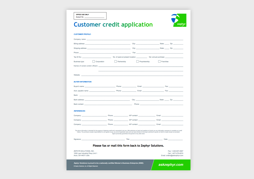 Zephyr customer credit application form